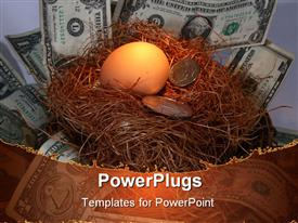 PowerPoint template displaying egg in nest with bill and coins