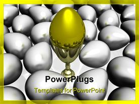 PowerPoint template displaying gold egg in a bowl on a background of other eggs