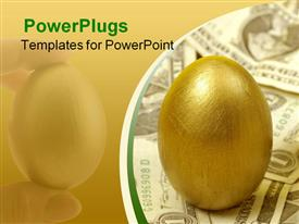 PowerPoint template displaying golden nest egg