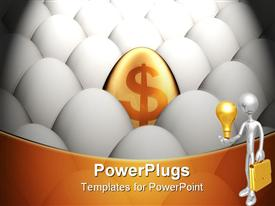 PowerPoint template displaying one golden egg among many normal eggs in the background.