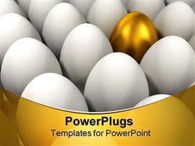 Outstanding golden egg among other normal eggs  prosperity template for powerpoint