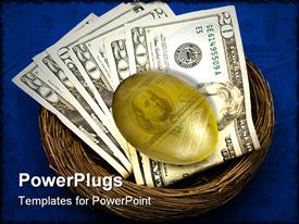 PowerPoint template displaying an egg and dollar notes in a nest