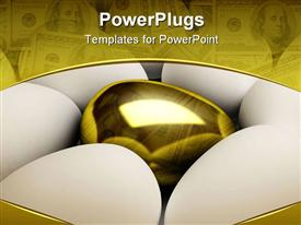 PowerPoint template displaying unique golden egg side single standing success treasure wealth white