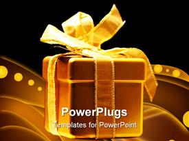 PowerPoint template displaying golden present box in front of black background