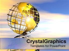 Shiny gold wire globe powerpoint theme