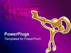 PowerPoint template displaying gold plated three dimensional man carrying key to success on purple background