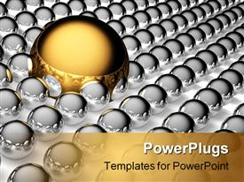 PowerPoint template displaying big gold and small steel balls in the background.