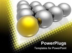 PowerPoint template displaying nine silver colored balls and one gold one leading