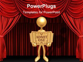 PowerPoint template displaying a person holding a card with stage in the background