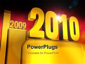 PowerPoint template displaying happy new gold year 2010 - 3D rendering