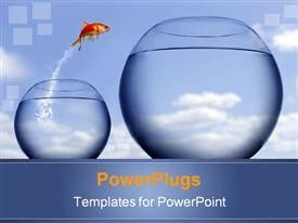 Goldfish jumping out of the water powerpoint template
