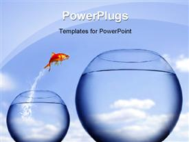 PowerPoint template displaying golden fish jumping from one fish bowl to other bigger bowl depicting change
