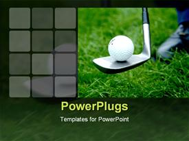 PowerPoint template displaying close up of golf ball on golf club on green grass