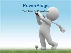 PowerPoint template displaying human hold bat and play golf in the background.