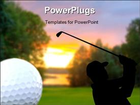 PowerPoint template displaying golf ball in corner of scene showing silhouette of golfer on course