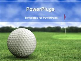 PowerPoint template displaying golf ball on the golf playground on green short grass with golf flag in the back and trees with light blue sky in the background