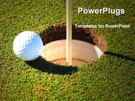 Golf ball at the rim of cup powerpoint theme