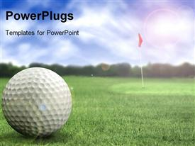 PowerPoint template displaying a golf ball in a golf course ready to be hit