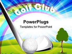 PowerPoint template displaying golf club putter hitting golf ball, golf club words, rainbow and blue sky