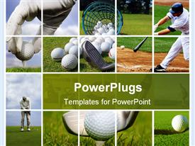 PowerPoint template displaying golf and baseball collage with balls, tees, clubs, bat, field, course, grass, players