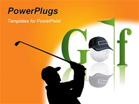 Golf players isolated on the black logo powerpoint theme