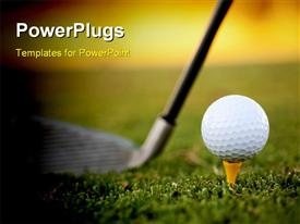 PowerPoint template displaying club and white golf ball over grass outdoors in the background.