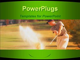 PowerPoint template displaying man swinging golf club in sand trap, green border