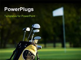 PowerPoint template displaying set up new golf clubs on a beautiful golf course