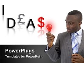 PowerPoint template displaying businessman trying to think of some money making ideas. currency lettered word