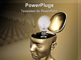 PowerPoint template displaying open top gold head with idea light bulb