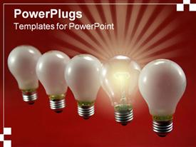 PowerPoint template displaying nice close-up of a row of light bulbs in front of a red background