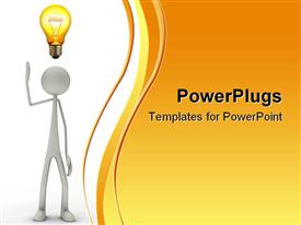 White 3D Figure with bulb has enlightenment template for powerpoint