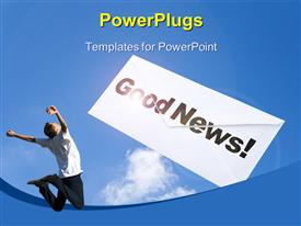 PowerPoint template displaying man jumps for joy at good news over blue cloudy sky
