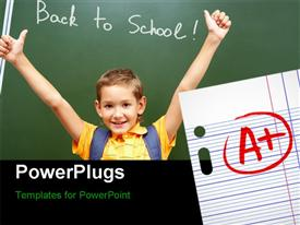 PowerPoint template displaying school success with a very good results