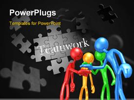 PowerPoint template displaying different colored humanoids placing hand over hand with jigsaw puzzle and teamwork keyword in background