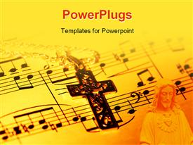 PowerPoint template displaying crucifix and sheet music