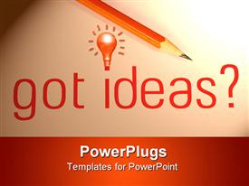 PowerPoint template displaying got ideas with pencil on the white background