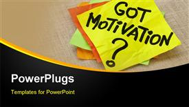PowerPoint template displaying motivation post it sticky notes on canvas, business background with black wave border