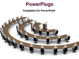 PowerPoint template displaying conference session in semi-circular arrangement with speaker behind pulpit
