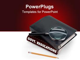 PowerPoint template displaying government regulations, magnifier, pencil in the background.