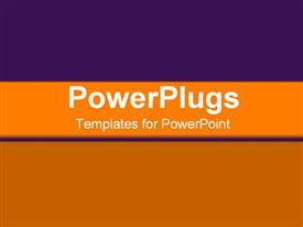 PowerPoint template displaying horizontal orange bar on background of purple gradient and warm orange