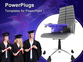 PowerPoint template displaying bachelor's hat in office chair