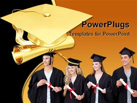 PowerPoint template displaying gilded graduation 3D in the background.