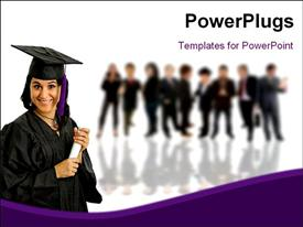 PowerPoint template displaying a graduate with a number of others in the background