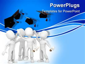 PowerPoint template displaying a group of figures celebrating their graduation ceremony together