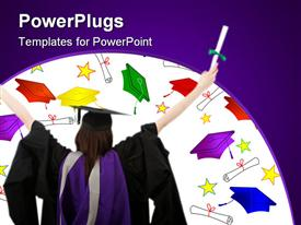 PowerPoint template displaying rear view of a female graduate full of success with her arms up in the background.