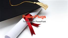 PowerPoint template displaying success achievement graduation hat graduation diploma red ribbon  yellow tassel