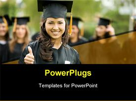 PowerPoint template displaying a graduate smiling and showing thumbs up with blurred background
