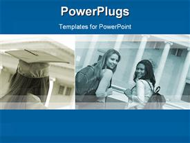 PowerPoint template displaying two depictions of university students, one graduating girl with graduation cap and two girl students with school bags smiling at the camera