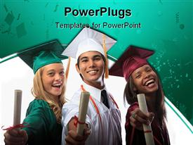 PowerPoint template displaying three graduates in cap and gown with diplomas